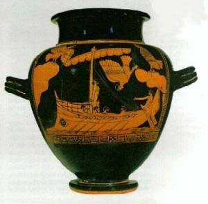 Ulisse e le Sirene. Anfora attica a figure rosse (480-470 a.C.). British Museum, Londra.